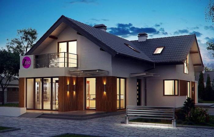Z150 - Проект удобного дом с мансардой, с дополнительным помещением для коммерческого использования на первом этаже.