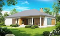 Z152 - Проект практичного одноэтажного дома с фронтальным выступающим гаражом и крытой террасой.