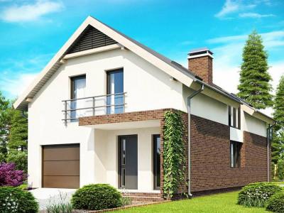 Z154 - Дом в традиционном стиле  с мансардой, со встроенным гаражом, подходящий для узкого участка.