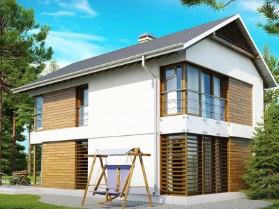 Z155 - Компактный двухэтажный дом с большими окнами, подходящий для узкого участка.