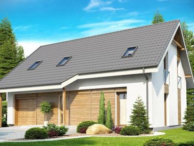 Z170 - Проект дома с гаражом, с большим мансардным окном и дополнительной комнатой на первом этаже.