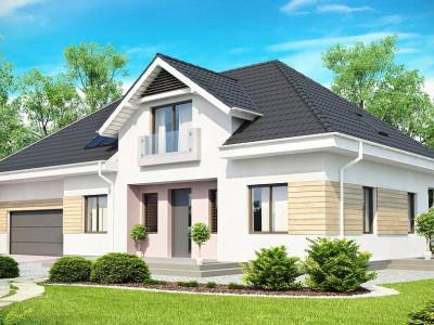 Z171 - Комфортный стильный дом с большим гаражом для двух автомобилей и дополнительной комнатой над ним.