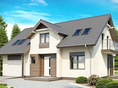 Z172 - Традиционный дом со встроенным гаражом, мансардными окнами и большим хозяйственным помещением.