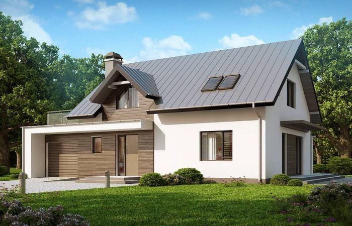 Z179 - Классический дом с современными элементами архитектуры, с обширной террасой над гаражом.