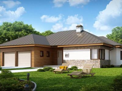 Z180 - Стильный одноэтажный дом с гаражом для двух автомобилей.
