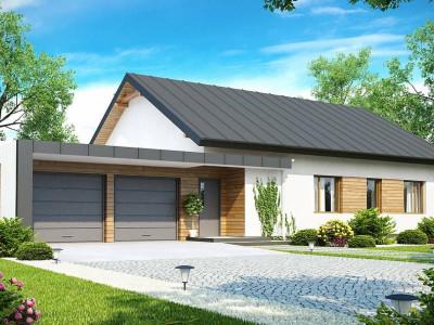 Z182 - Практичный одноэтажный дом с двускатной крышей, с большим боковым гаражом.