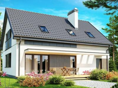 Z183 - Функциональный традиционный дом с современными элементами в архитектуре, со встроенным гаражом.