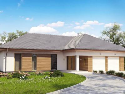Z190 - Проект комфортного одноэтажного дома с фронтальным гаражом для двух машин.