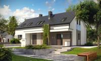 Z193 - Проект стильного двухсемейного дома с общим входом, экономичного в строительстве и эксплуатации.