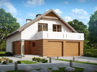 Z198 - Функциональный дом простой формы с обширной террасой над гаражом.