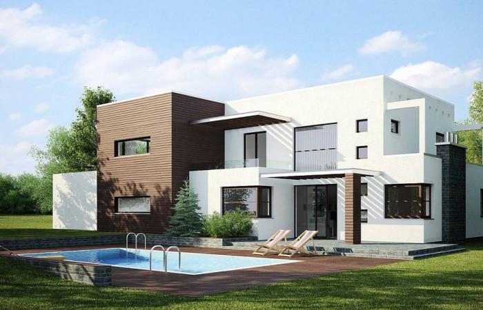 Zx1 - Современный дом кубической формы с террасой над гаражом.