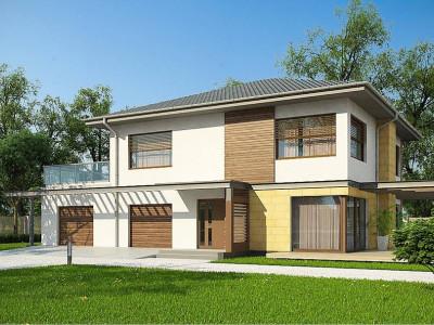 Zx2 GL2 - Версия проекта двухэтажного дома Zx2 c увеличенным гаражом