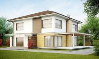 Zx2 - Двухэтажный дом простой формы со вторым светом над гостиной и встроенным гаражом.