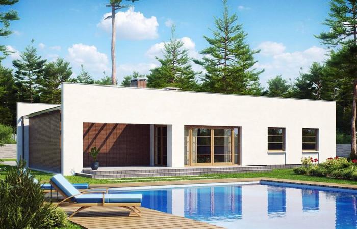 Zx13 - Одноэтажный дом с плоской крышей, со светлым функциональным интерьером и гаражом.