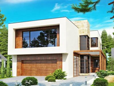 Zx14 - Двухэтажный дома в стиле модерн с практичным интерьером и гаражом для двух автомобилей.