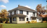 Zx16 - Просторный и функциональный двухэтажный дом с многоскатной кровлей и гаражом.