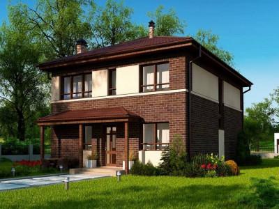 Zx24 a - Двухэтажный дом традиционного дизайна, облицованный кирпичом