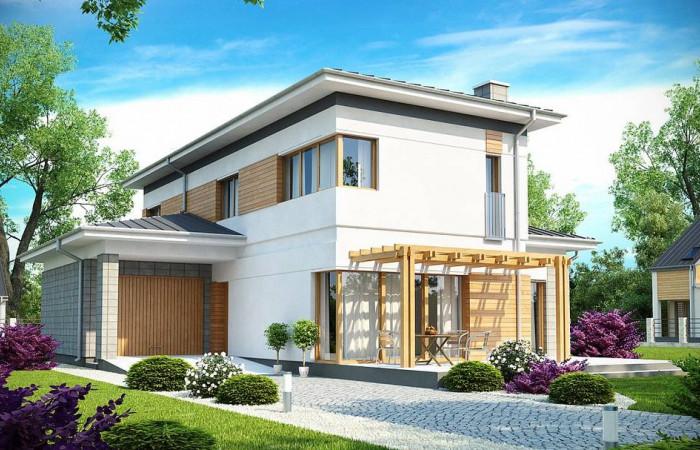 Zx25 - Проект удобного двухэтажного дома в стиле модерн с боковым гаражом.