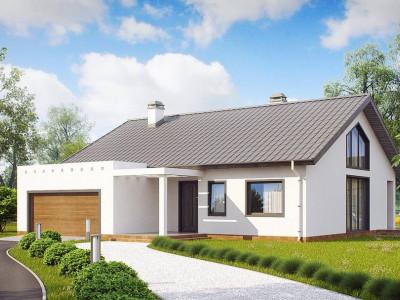 Z202 - Дом традиционной формы с современными архитектурными дополнениями. Свободная планировка мансарды и антресоль над гостиной.