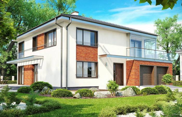 Zx30 - Комфортабельный двухэтажный дом простой формы со стеклянным эркером над гаражом.