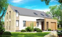 Zx38 - Дом с мансардой современного характера с частично встроенным гаражом.