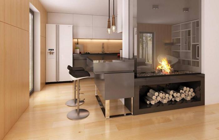 Zx40 - Современный эксклюзивный дом с каменной облицовкой, подходящий для узкого участка.