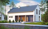 Zx43 - Аккуратный современный дом простой формы с оригинальной двускатной крышей.