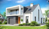 Zx44 - Современный дом с уютным и функциональным интерьером. Интересное сочетание двускатной крыши и кубических форм.