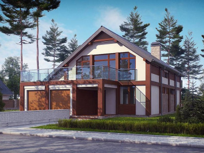 Zx50 - Просторный современный дом элегантного дизайна с террасой над гаражом.
