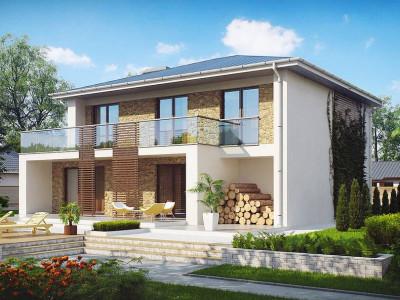 Zx55 - Просторный и комфортный двухэтажный дом с большими окнами.