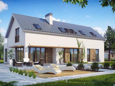 Zx58 - Современный дом простой формы. Открытое пространство гостиной, функциональная планировка.
