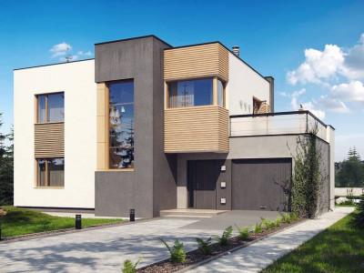 Zx59 - Двухэтажный дом в модернистского дизайна с гаражом и террасой на верхнем этаже.