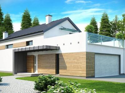 Zx60 - Дом современного простого дизайна. Продольная форма, уютный комфортный интерьер.