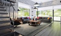 Zx63 - Современный элегантный дом с гостиной с фронтальной стороны.