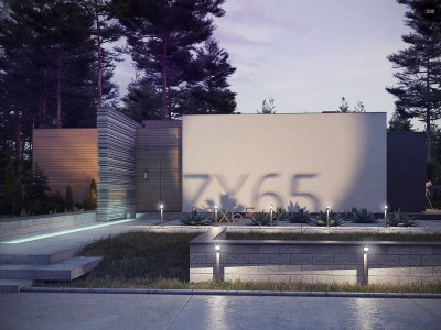 Zx65 - Одноэтажный дом в стиле хай-тек с плоской кровлей и большой площадью остекления.