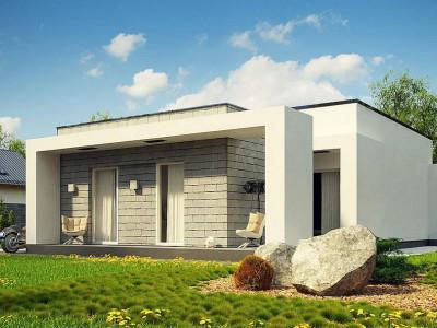 Zx69 - Одноэтажный дом с плоской крышей и крытыми террасами