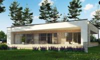 Zx71 - Одноэтажный коттедж с гаражом на одну машину и уютной террасой