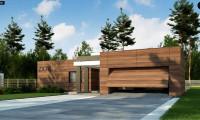 Zx78 - Одноэтажный дом с плоской кровлей, тремя спальнями и гаражом на две машины
