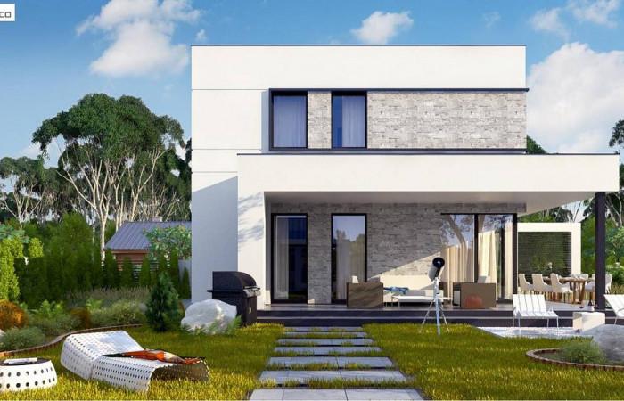 Zx92 - Простой аккуратный проект двухэтажного дома с плоской кровлей