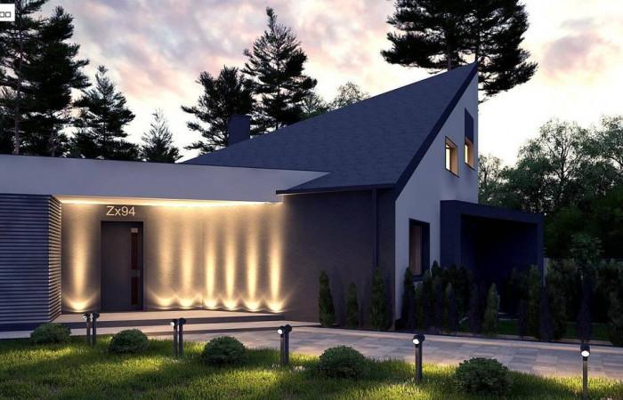 Zx94 - Проект современного дома с вторым светом, стильной кровлей и удобной планировкой.