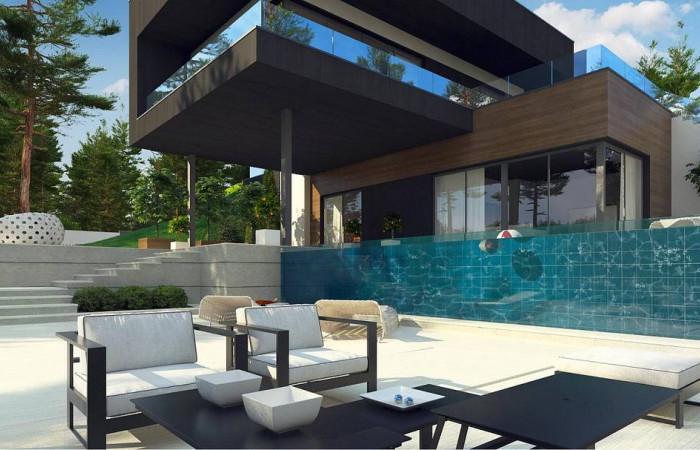 Zx97 - Проект современного двухэтажного дома. Проект подойдет для строительства на участке со склоном.