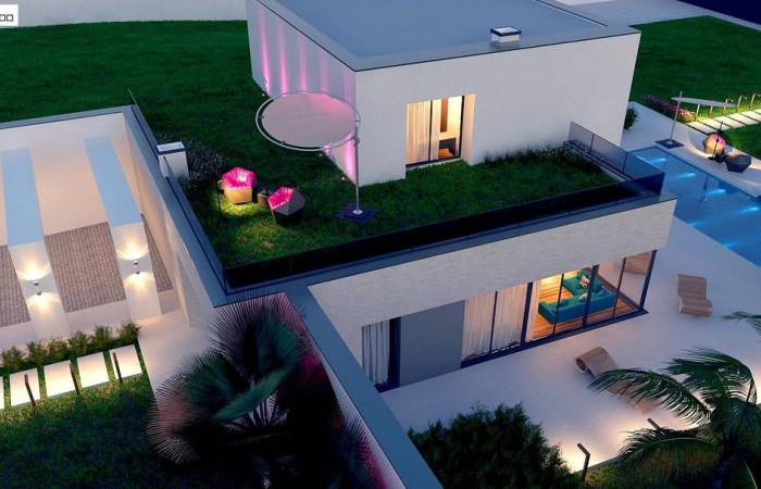 Zx98 - Стильный современный проект двухэтажного дома, подходит для строительства на участке со склоном.