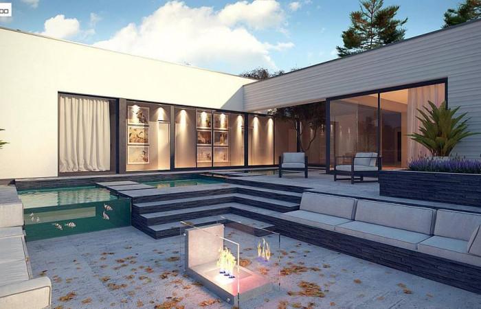 Zx99 - Одноэтажный дом в современном стиле  с гаражом на 3 машины,  с плоской кровлей