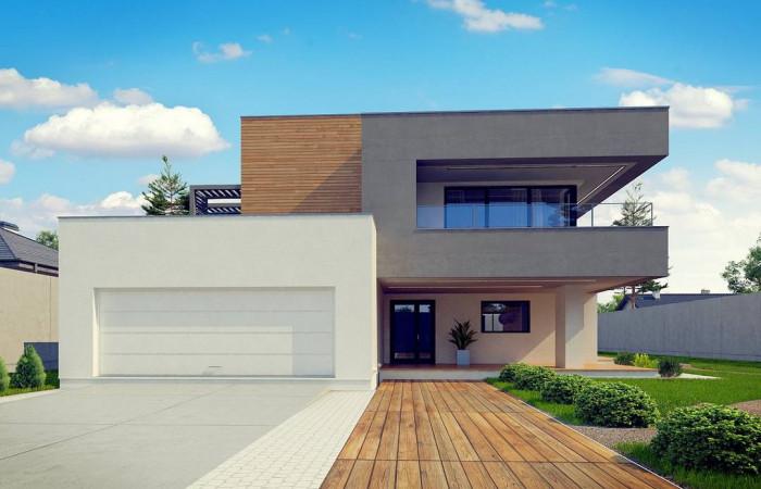 Zx108 - Современный двухэтажный дом с большой площадью остекления.