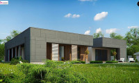 Zx118 - Современный односемейный одноэтажный дом с  плоской крышей