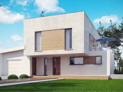 Zx121 - Современный двухэтажный дом с гаражом на 1 машину и террасой