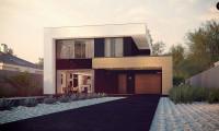 Zx123 - Двухэтажный дом в строгом современном стиле, со спортивным залом на первом этаже