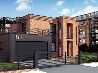 Zx126 - Современный двухэтажный дом с облицовкой фасада из кирпича