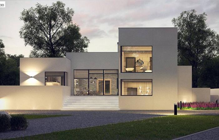 Zx140 - Современный проект с уникальным дизайном, оштукатуренным фасадом и гаражом