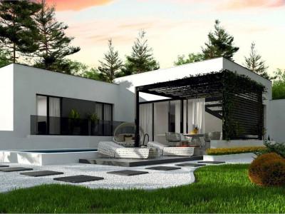 Zx141 - Проект современного одноэтажного дома  с плоской кровлей.